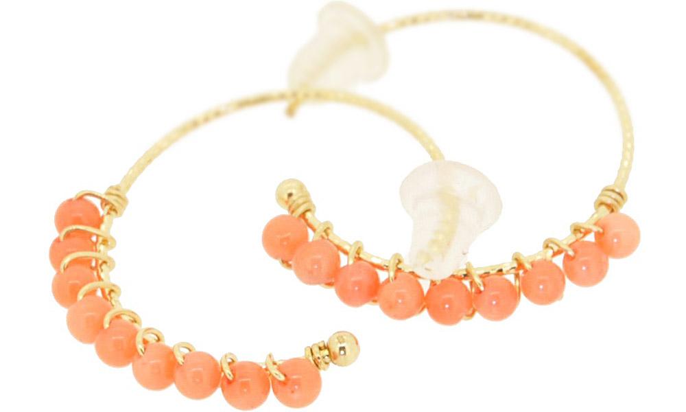 Cherry Quartz<br>13W-230 Candy pierced earrings (S) ¥18,000+tax<br>13W-240 Candy pierced earrings (M)¥21,000+tax<br>13W-250 Candy pierced earrings (L) ¥24,000+tax