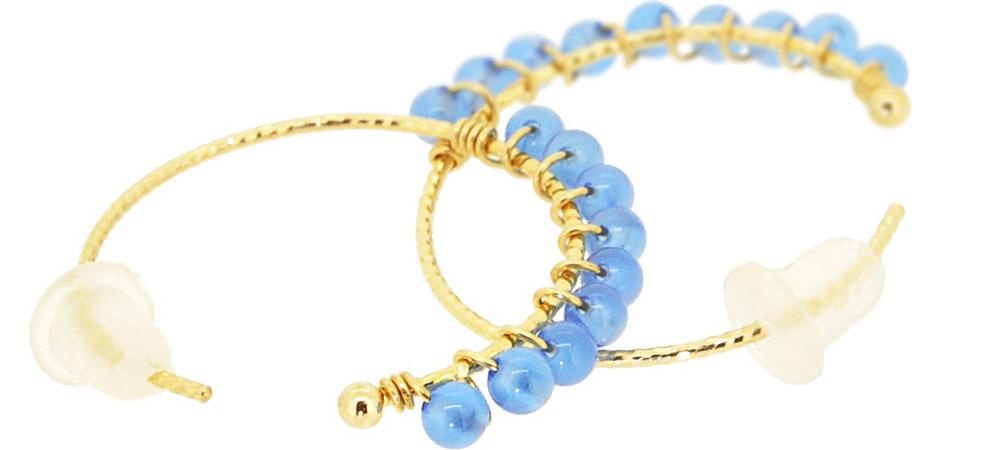 Blue Onyx<br>13W-230 Candy pierced earrings (S) ¥18,000+tax<br>13W-240 Candy pierced earrings (M)¥21,000+tax<br>13W-250 Candy pierced earrings (L) ¥24,000+tax