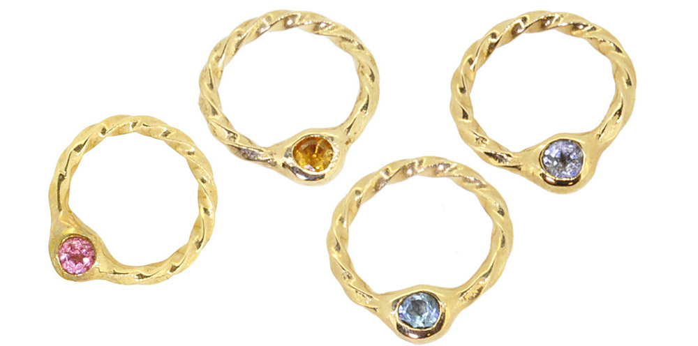 Oct. Pink Tourmaline, Nov. Citrine, Nov. Blue Topaz, Dec. Tanzanite<br>13W-606 Birth Stone Ring #1-#15 ¥14,000+tax
