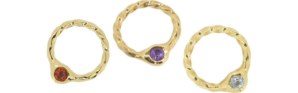 Jan. Garnet, Feb. Amethyst, Mar. Aquamarine<br>13W-606 Birth Stone Ring #1-#15 ¥14,000+tax
