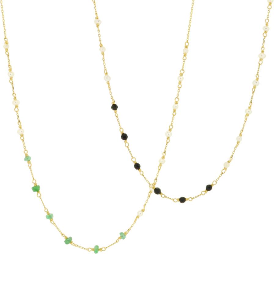 Black Onyx, Emerald<br>14W-304 ¥21,000+tax 46+4cm
